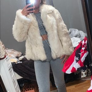 Real white rabbit fur coat